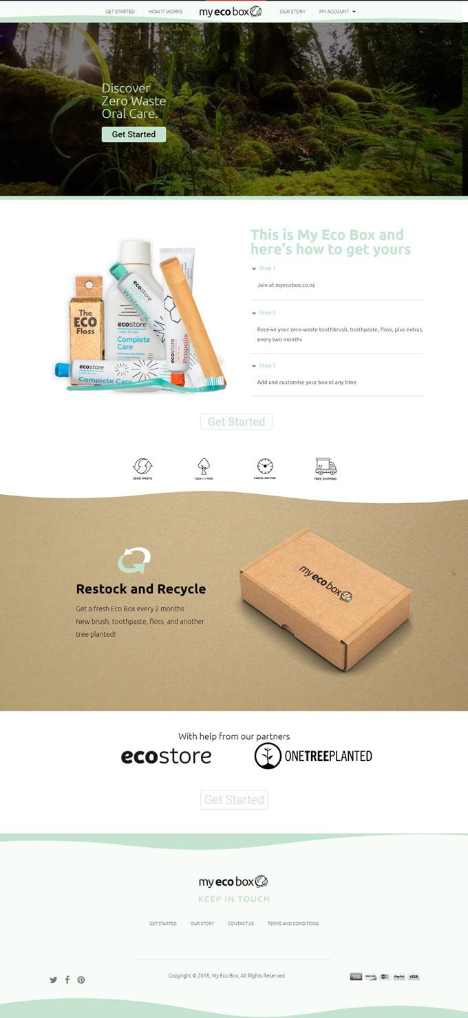 MYECOBOX Website Design Screenshot
