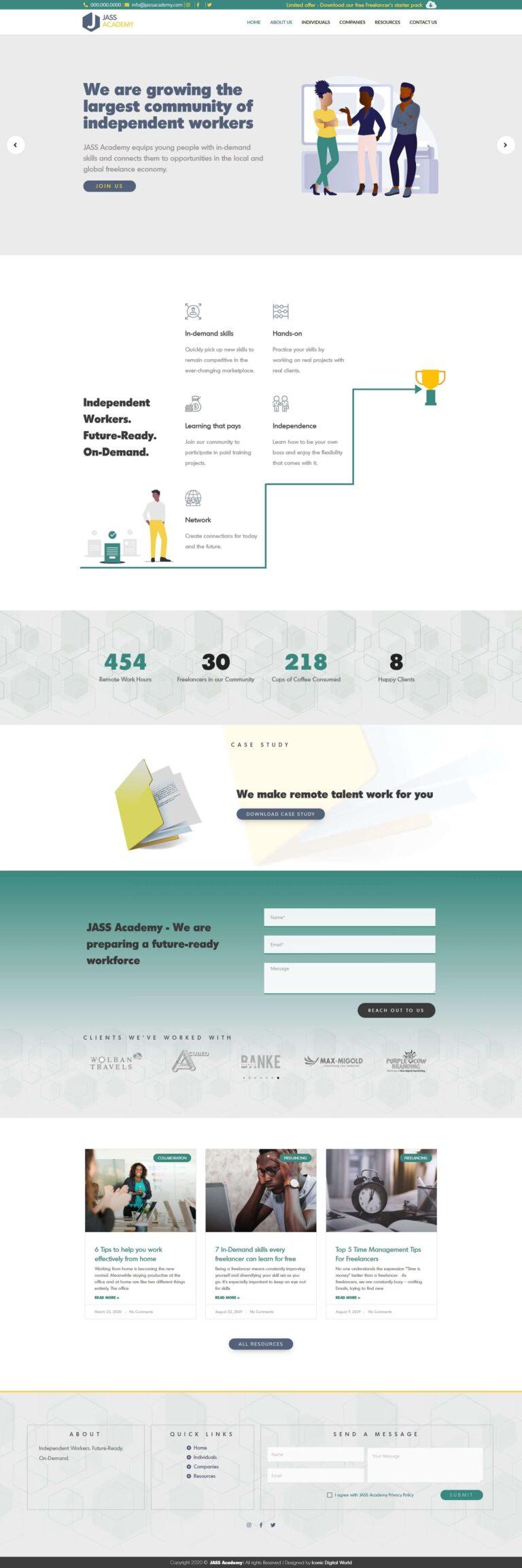 JASS Academy Home page Screenshot