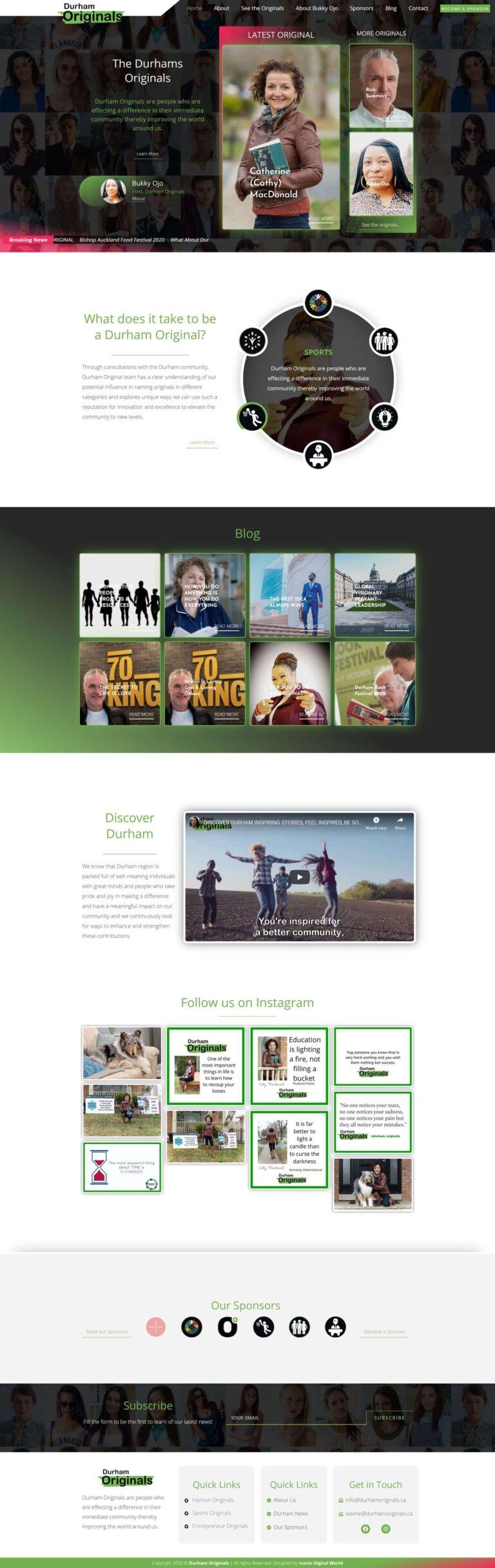 Durham Originals Website Redesign Homepage