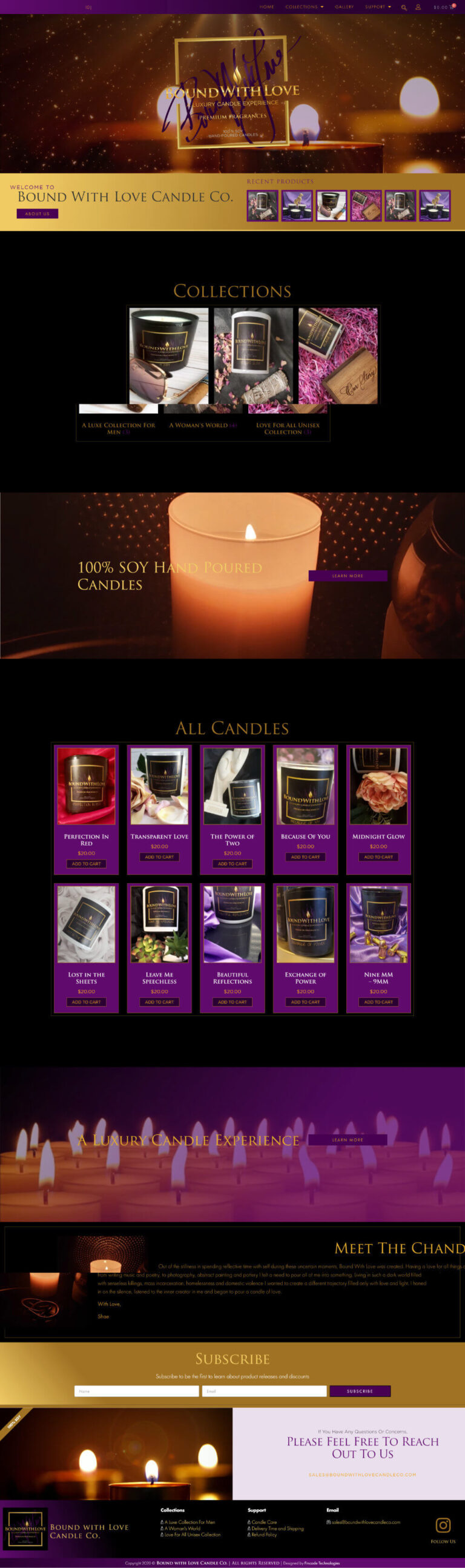 Boundwithlove Candle Website Design - Home