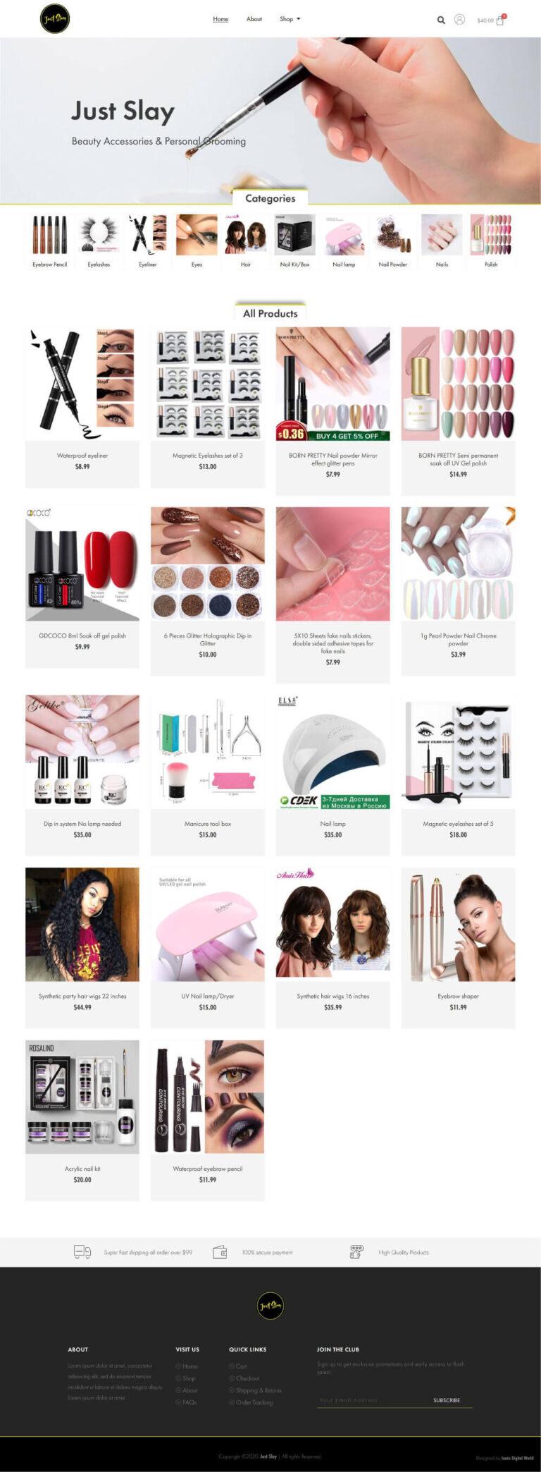 Just Slay New Website Design - Homepage