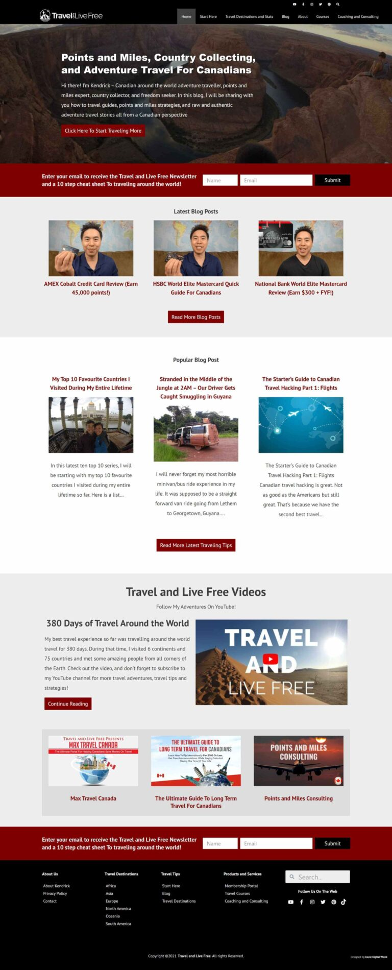 Travel and Live Free Website Redesign