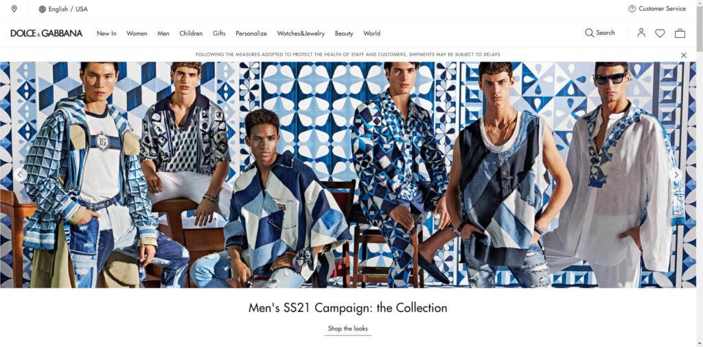 Dolce and Gabbana Website