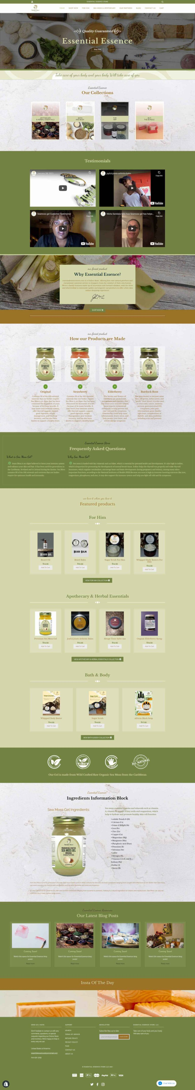 Essential Essence store Website redesign