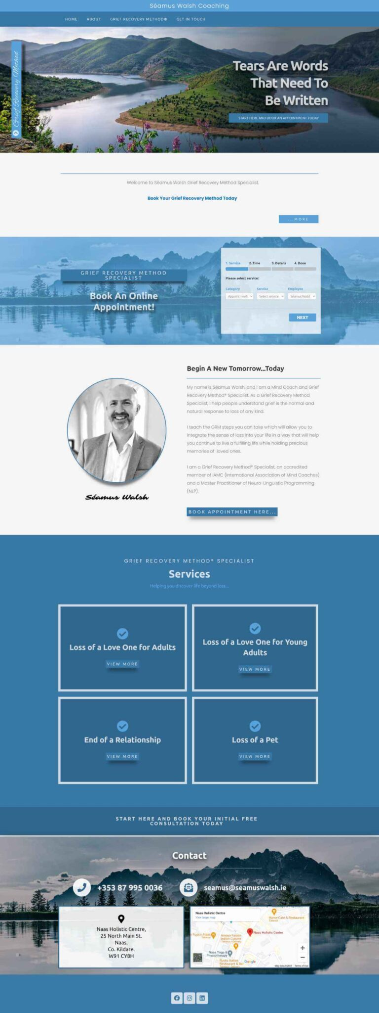 Seamuswalsh Coaching Website Design - Home