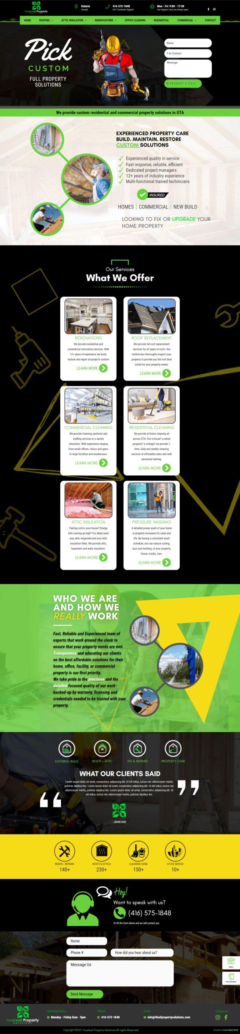 4leafpropertysolutions Homepage - 4leafpropertysolutions website design