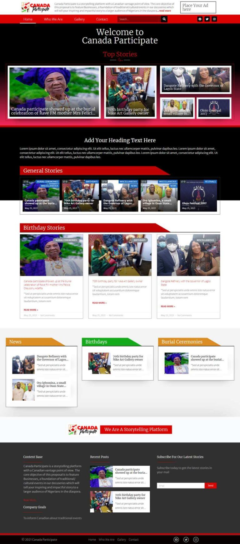 Canada Participate - Website redesign - Home