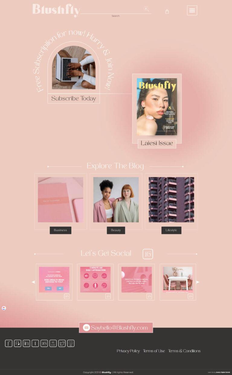 Blushfly Website Design - Homepage