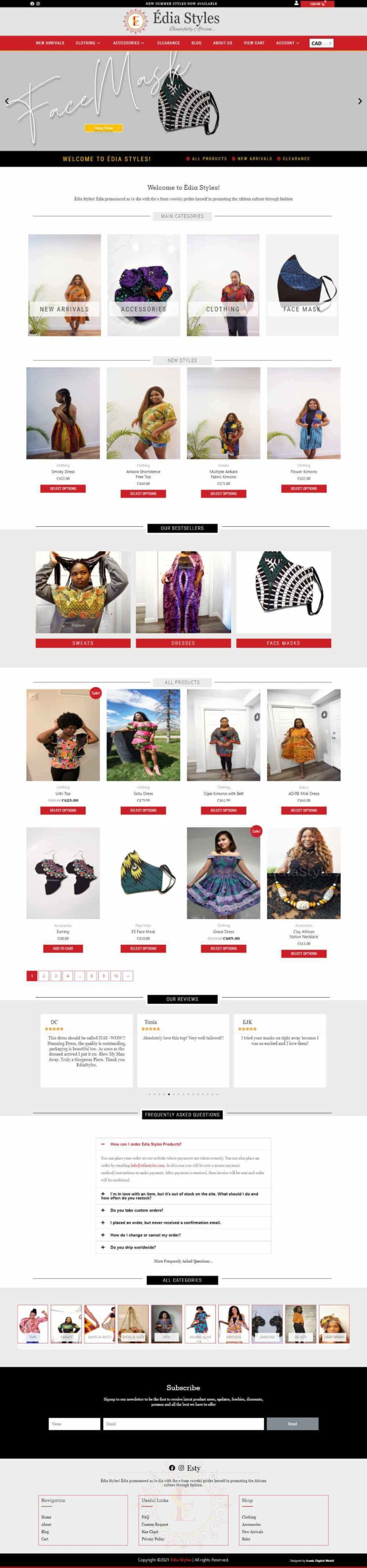 Edia Styles Website Design Home Page