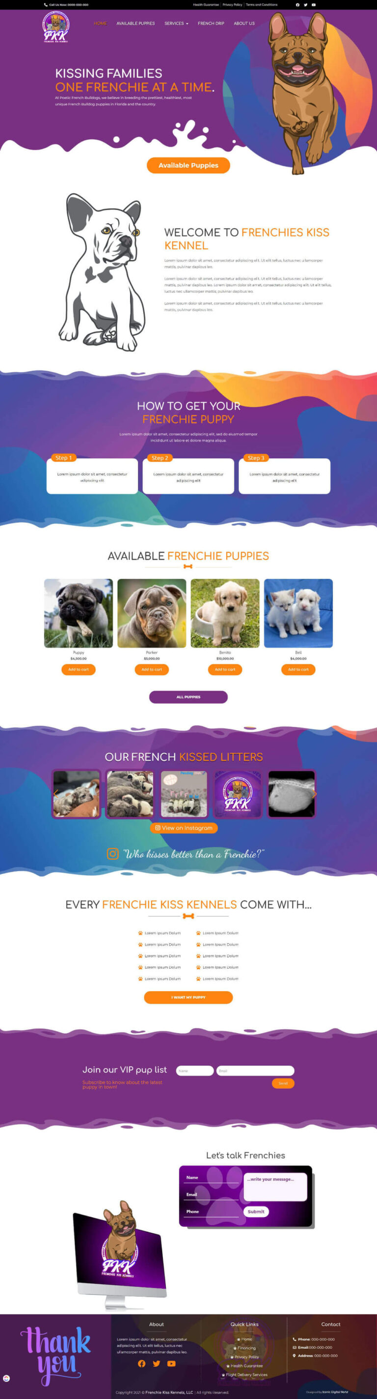Frenchie Kiss Kennels New Website Design Home